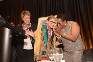 Karen Evans (right) and Supreme Court Justice Ruth Bader Ginsburg (center) celebrate Law Day.
